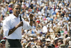 Presidential hopeful Sen. Barack Obama, D-Ill., speaks to supporters during a campaign rally Saturday in Santa Barbara, Calif. Oprah Winfrey later hosted a celebration for Obama at her Montecito estate.
