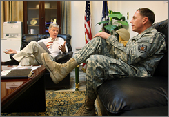 Gen. David Petraeus, right, confers with U.S. Ambassador to Iraq Ryan Crocker in Crocker's office on September 2 at the U.S. Embassy in Baghdad. They were preparing for their upcoming trip to Washington, D.C. where they will address Congress with a key assessment of the troop surge in Iraq.