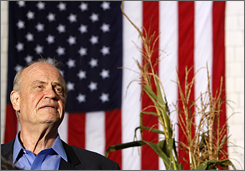 Republican presidential candidate Fred Thompson listens as he is introduced to voters at the Seacoast Republican Women Chili Fest in Stratham, N.H., on Saturday.
