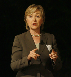 Sen. Hillary Clinton, D-N.Y., speaks Monday during a Democratic forum hosted by Century Village West, in Boca Raton, Fla.