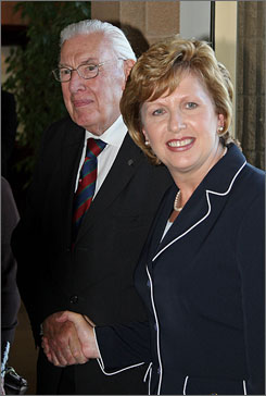Northern Ireland First Minister Dr Ian Paisley, left, meets Irish President Mary McAleese for the  first time, at Somme Heritage Center, which honors the sacrifices of British soldiers from Ireland in World War I, at Conlig in Northern Ireland, Monday.
