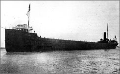 A photo of the Cyprus, an ore freighter ship, on her maiden voyage.