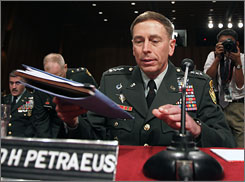 Gen. David Petraeus prepares to testify Tuesday before the Senate on the course of the war in Iraq.
