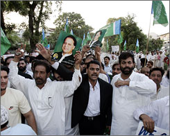 Pakistani shout slogans during a rally supporting former Prime Minister Nawaz Sharif in Islamabad, Pakistan. President Gen. Pervez Musharraf sent Sharif, the premier he ousted in a 1999 coup, back into exile after the opposition leader landed on a flight from London.