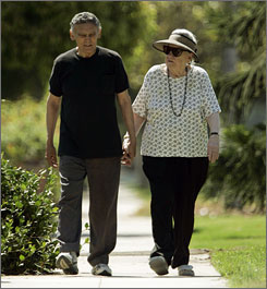 Jack and Elizabeth Menager walk near their home in Los Angeles, in August. An unprecedented study of sex and seniors finds that many older people are surprisingly willing to do, and talk about, intimate acts that would make their grandchildren blush.