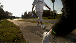 People with diabetes walk in a neighborhood exercise and nutrition program, Project Direct, in Raleigh, N.C., this summer.