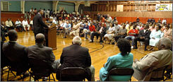 Rev. Jesse Jackson speaks at a town talk on Sept. 9 at the Goodpine Middle School in Jena, La. Jackson said the 3,000 residents of Jena should come together to demand equal justice.