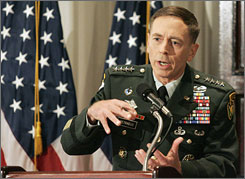 Gen. David Petraeus, the top commander of U.S. forces in Iraq, briefs reporters in Washington last week on progress in Iraq.