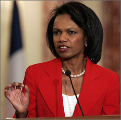 """Secretary of State Condoleezza Rice speaks during a joint news conference with French Foreign Minister Bernard Kouchner at the State Department in Washington, Friday.  Rice said Friday she had ordered a """"full and complete review"""" of security practices for U.S. diplomats."""