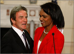 "Putting Iraq dispute ""behind us"": French Foreign Minister Bernard Kouchner and Secretary of State Condoleezza Rice in Washington on Friday. The two diplomats discussed Iran and nuclear weapons."