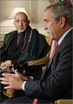 "Bush and Karzai met for an hour in New York City this morning. ""I don't know if you feel it in the United States but we feel it immensely in Afghanistan,"" Karzai said. ""Afghanistan has indeed made progress,"" Karzai said."