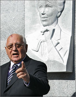 Mikhail Gorbachev, shown here in a Sept. 20 photo,  had harsh words on Wednesday for the secretive way Russian President Vladimir Putin reshuffled the Cabinet earlier this month, echoing critics who said his maneuvering underscores the lack of popular input in running the country.