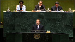 Iraqi Prime Minister Nouri al-Maliki addresses the 62nd session of the United Nations General Assembly on Wednesday at U.N. headquarters.