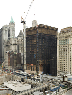 The Deutsche Bank building as seen on Aug. 20, 2007. Contractors began taking down the building floor by floor last December. Investigators blame careless smoking for the Aug. 18 blaze that killed the firefighters.