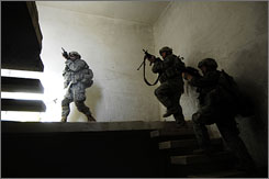 U.S. soldiers inspect a suspected insurgent base in the Arab Jbur region of Iraq in June 2007. 19,429 enemy combatants have been killed since the '03 invasion. Militants are identified in the military database because they are linked to &quot;hostile action,&quot; said Capt. Michael Greenberger, a Freedom of Information Act officer in Baghdad. There is no way to independently verify the data.