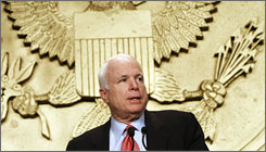 Republican presidential hopeful, Sen. John McCain delivers remarks to the National Rifle Association in Washington.