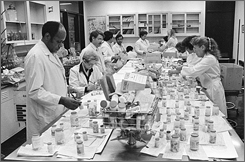Chicago City Health Department employees test Tylenol medicines for cyanide content at a city laboratory in October of 1982.