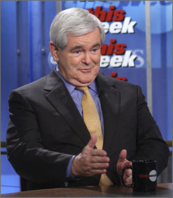 Former Speaker of the House Newt Gingrich, appears for an interview with George Stephanopolous on ABC's This Week, in Washington.