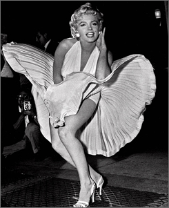 Marilyn Monroe poses over a New York City subway grate during a photo shoot for The Seven Year Itch in 1954.