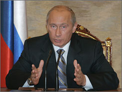 Russian President Vladimir Putin speaks during a meting with the Cabinet in Moscow's Kremlin on Monday.