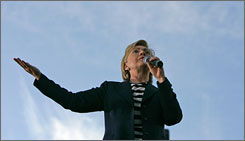 Democratic presidential candidate Sen. Hillary Clinton speaks at a fundraising event in Oakland, on September 30. Her third-quarter fundraising tally eclipses all other candidates who have reported thus far.