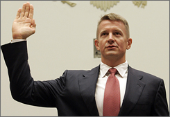 Blackwater USA founder Erik Prince is sworn in on Capitol Hill in Washington Tuesday, prior to testifying before the House Oversight Committee hearing examining the mission and performance of the private military contractor Blackwater in Iraq and Afghanistan.