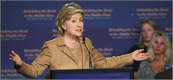 Sen. Hillary Rodham Clinton, D-N.Y., delivers a speech on the economy Monday in Cedar Rapids, Iowa.