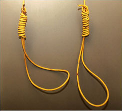 A photo of the hangman's nooses confiscated from the vehicle driven by Jeremiah Munsen in Alexandria, La. Munsen was arrested on Sept 20, when police allegedly found nooses dangling from the rear of his pickup after he drove past a crowd of people who had attended a civil rights march earlier in the day.