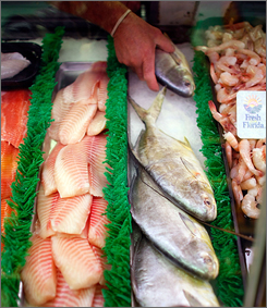 Fish are seen on sale at Fish Peddler East Inc. Oct. 4 in Fort Lauderdale A study released by a coalition of top scientists indicates that pregnant and breast-feeding women should eat at least 12 ounces of fish and seafood per week to ensure their babies' optimal brain development.