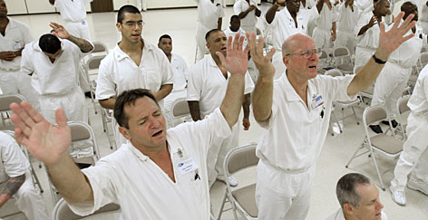 Inmates sing a hymn as part of the InnerChange Freedom Initiative program at the  Carol Vance Unit, in Richmond, Texas.