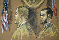 Kirby Logan Archer, 35, of Strawberry, Ark., left, and Guillermo Zarabozo, 19, of Hialeah, Fla., right, appeared in federal court in Miami Sept. 26, 2007. The men have been accused of killing the Joe Cool's crew, but without a murder weapon, confession, bodies, bullets  or any witnesses beyond the accused  proving the case will be difficult, veteran defense lawyers say.