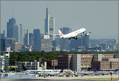 A plane takes off from the airport in Frankfurt, Germany, where three suspected Islamic terrorists were arrested for allegedly plotting attacks on Frankfurt airport and the nearby U.S. military base in Ramstein last month.