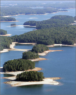 An exposed lake bed is shown at Lake Lanier in Buford, Ga. Rivers throughout the Southeast are turning to dust, towns are threatening to ration dwindling water supplies and lawmakers are pointing fingers as the region struggles with an epic drought that seems to be getting worse.