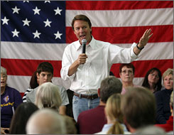 John Edwards speaks at a Town Hall style meeting at Hudson Memorial School in Hudson, N.H.