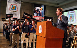 Democratic presidential hopeful John Edwards speaks at the headquarters of The United Brotherhood of Carpenters and Joiners of America on Saturday in Las Vegas. Edwards received the endorsement of the union.
