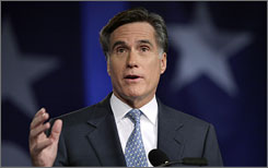 Republican presidential candidate and former Massachusetts Governor Mitt Romney addresses the Family Research Council.