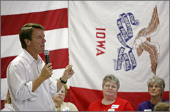 Democratic presidential hopeful John Edwards speaks during a town hall meeting in Mount Pleasant, Iowa.