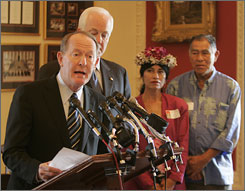 Sens. Lamar Alexander, R-Tenn., left, and John Cornyn, R-Texas, voiced their opposition to the Native Hawaiian Government Reorganization Act in 2006. They were joined by Native Hawaiians Kilikina Kekumano Fetterman and Clarence Kukauakahi Ching. The House voted today to allow Native Hawaiians to govern themselves.