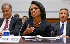 Secretary of State Condoleeza Rice testifies before the House Government Reform and Oversight Committee in Washington. Rice faced a tough line of questioning from committee members about corruption in the new government of Iraq.