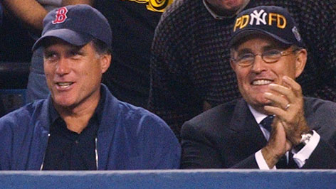Current presidential candidates Mitt Romney, left, and former New York mayor Rudy Giuliani watched the Red Sox play the Yankees in the 2003 playoffs in New York. Now they're nomination opponents  and recipients of contributions from the baseball establishment.