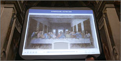 "Leonardo Da Vinci's ""The Last Supper"" is shown on a giant screen at the Bramante Sacristy in the church of Santa Maria delle Grazie, in Milan, Italy. Da Vinci painted the original on the back wall of the dining hall at the Dominican convent of Santa Maria delle Grazie in Italy."