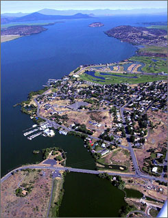 Upper Klamath Lake in Klamath Falls, Ore., is the state's largest freshwater lake. Explosions this week should boost the lake's volume by almost 5.9 billion gallons.
