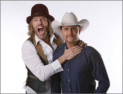 "Country musicians Big Kenny, left, and John Rich, of ""Big and Rich,"" may agree on music but their campaign dollars have gone in two opposite directions."