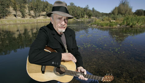 "Singer Merle Haggard is seen at his ranch at Palo Cedro, Calif., in early October. He has been turning heads on tour -- and causing some to walk out -- with his new song ""Hillary."""