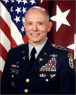 Retired Army lieutenant general James Peake, seen in this undated file photo, is President Bush's pick to become Secretary of Veterans Affairs.