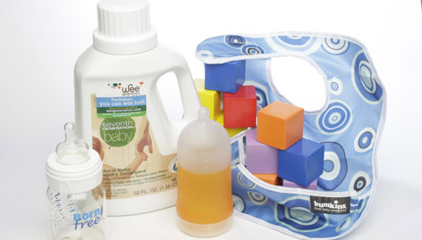 Products for baby (top, then left to right): Seventh Generation Natural Baby Laundry Detergent is made without petroleum-based cleaners, fragrances or dyes; Born Free is made without bisphenol A; Adiri Natural Nurser is made without bisphenol A; HABA Baby's First Blocks are made in Germany without phthalates; BumkinsWaterproof contains no phthalates or lead.
