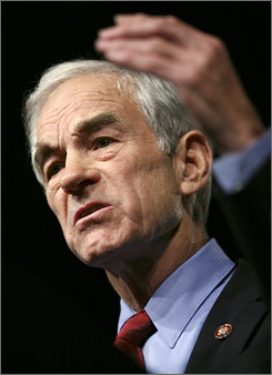 Republican presidential hopeful, Rep. Ron Paul, R-Texas, speaks during the Iowa Republican Party's annual Reagan Dinner on Oct. 27, in Des Moines.