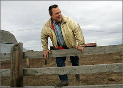 Sen. Jon Tester of Montana works on his farm in this 2006 photo in Big Sandy, Mont.