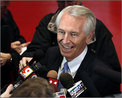 Steve Beshear talks about his race against incumbent Republican Gov. Ernie Fletcher during a news conference on the floor of the Frankfort Civic Center in Frankfort, Ky., Tuesday.