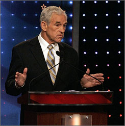 Rep. Ron Paul, R-Texas, answers a question during a Republican presidential debate in Orlando, on Oct. 21.